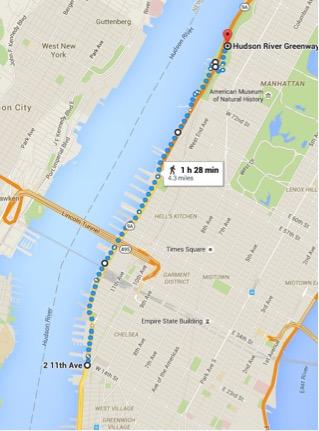 Hudson river greenway run new york city