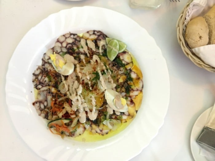 Octopus carpaccio at Cafe Laurent Havana Cuba