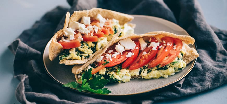 Healthy Breakfast Sandwich Egg Pita With Feta And Spinach