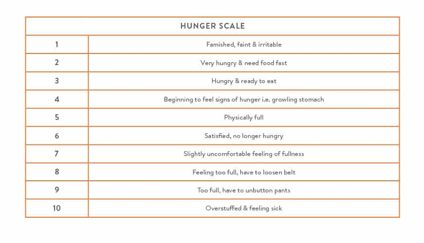 Hunger Fullness scale nutrition
